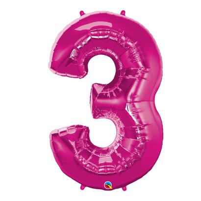 Balão Metalizado Número 3 Magenta 86cm Qualatex