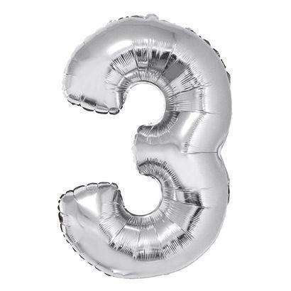 Balão Metalizado Número 3 Prata 102cm Funny Fashion