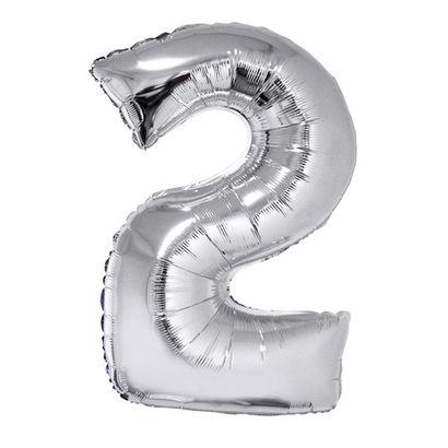 Balão Metalizado Número 2 Prata 102cm Funny Fashion