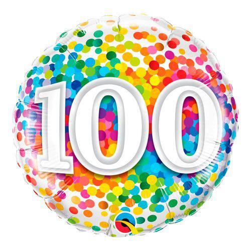 Balão Metalizado Redondo 18 Polegadas - 100 Confete Arco-íris - Qualatex