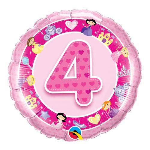 Balão Metalizado Redondo 18 Polegadas - 4 Anos Princesas Rosa - Qualatex