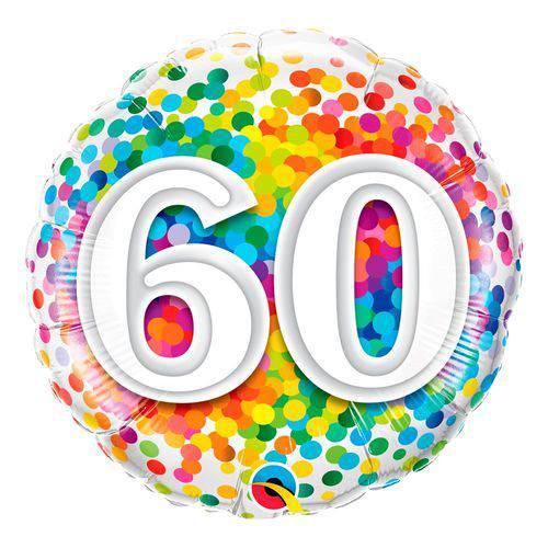 Balão Metalizado Redondo 18 Polegadas - 60 Confete Arco-íris - Qualatex