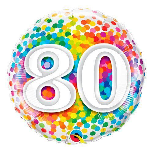 Balão Metalizado Redondo 18 Polegadas - 80 Confete Arco-íris - Qualatex