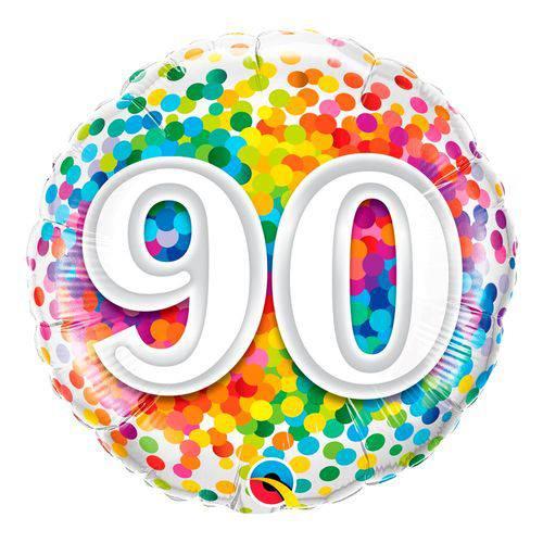 Balão Metalizado Redondo 18 Polegadas - 90 Confete Arco-íris - Qualatex
