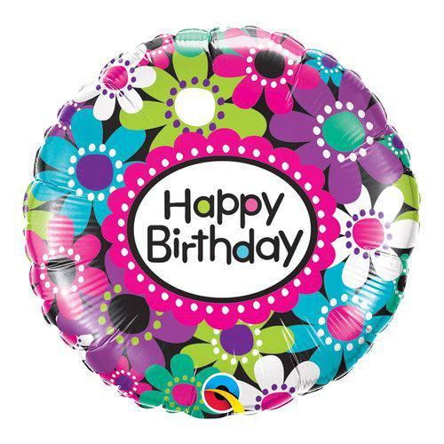 Balão Metalizado Redondo 18 Polegadas - Aniversário, Estampa de Margaridas - Qualatex