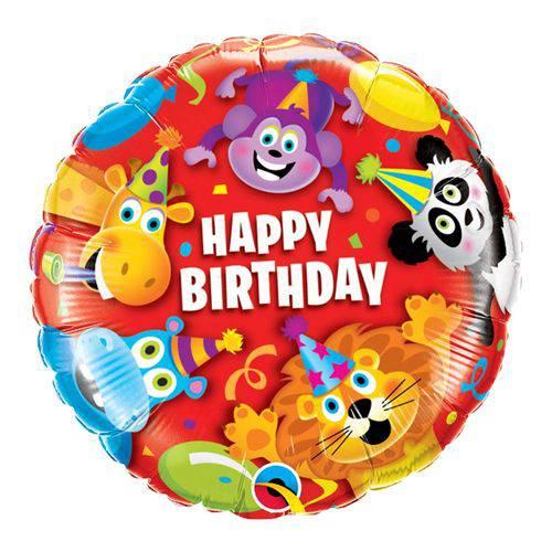 Balão Metalizado Redondo 18 Polegadas - Aniversário, Festa dos Animais - Qualatex