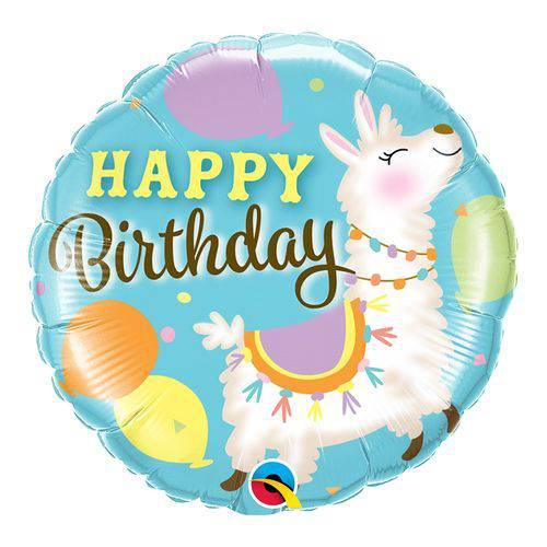 Balão Metalizado Redondo 18 Polegadas - Aniversário Lhama - Qualatex