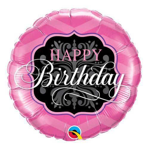 Balão Metalizado Redondo 18 Polegadas - Aniversário, Rosa e Preto - Qualatex