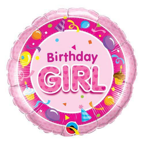 Balão Metalizado Redondo 18 Polegadas - Aniversário, Rosa Menina - Qualatex