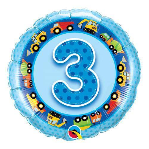 Balão Metalizado Redondo 18 Polegadas - 3 Anos Caminhões e Escavadeiras - Qualatex