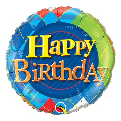Balão Metalizado Redondo 18 Polegadas - Birthday Tartan Plaid - Qualatex