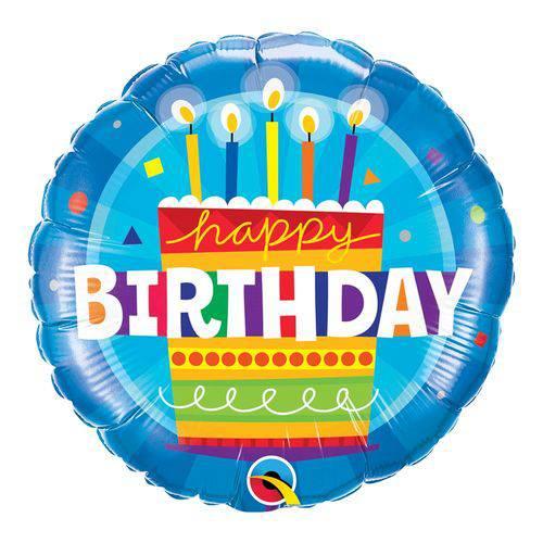 Balão Metalizado Redondo 18 Polegadas - Bolo de Aniversário Azul - Qualatex