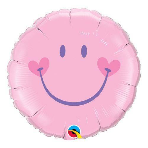 Balão Metalizado Redondo 18 Polegadas - Cara Sorridente Encantadora - Rosa - Qualatex