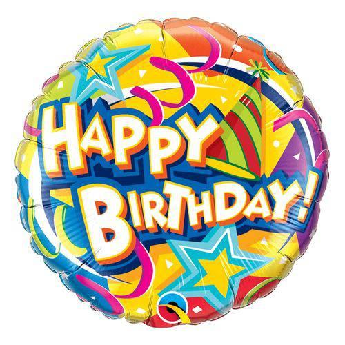 Balão Metalizado Redondo 18 Polegadas - Chapéu e Estrelas de Aniversário - Qualatex