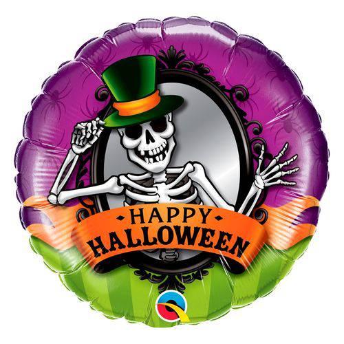 Balão Metalizado Redondo 18 Polegadas - Esqueleto Espelho de Halloween - Qualatex