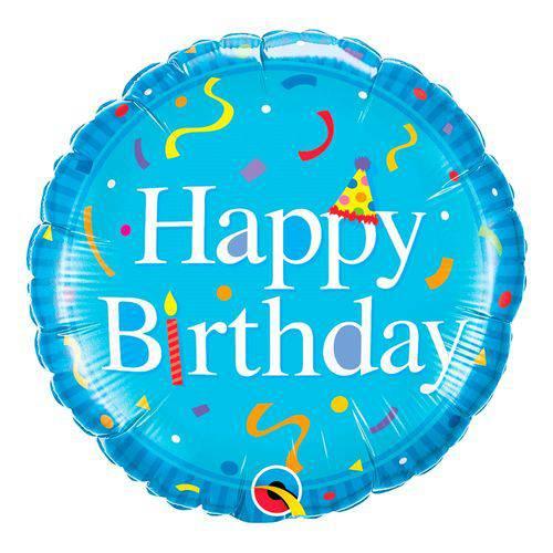 Balão Metalizado Redondo 18 Polegadas - Feliz Aniversário, Azul - Qualatex