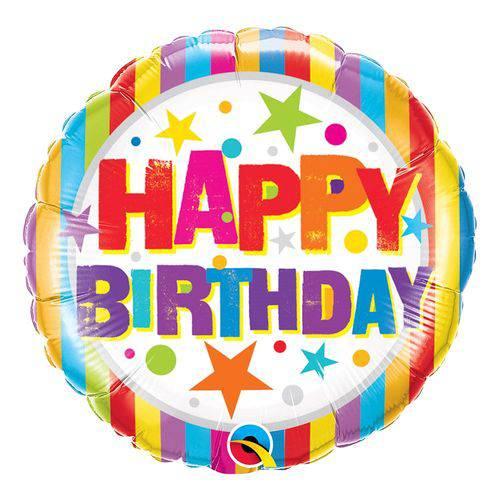 Balão Metalizado Redondo 18 Polegadas - Listras e Estrelas de Aniversário - Qualatex
