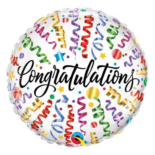 Balão Metalizado Redondo 18 Polegadas - Parabéns, com Serpentinas - Qualatex