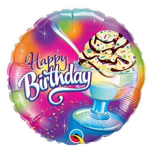 Balão Metalizado Redondo 18 Polegadas - Sorvete Sundae de Aniversário - Qualatex