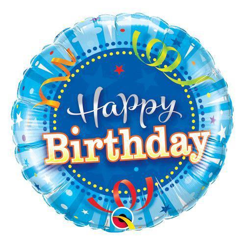 Balão Metalizado Redondo 9 Polegadas - Aniversário Azul Claro - Qualatex