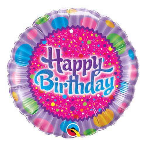 Balão Metalizado Redondo 9 Polegadas - Aniversário com Confeitos Coloridos e Brilhos - Qualatex
