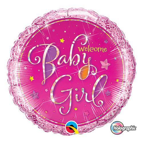 Balão Metalizado Redondo 9 Polegadas - Boas-vindas Menina, com Estrelas - Qualatex