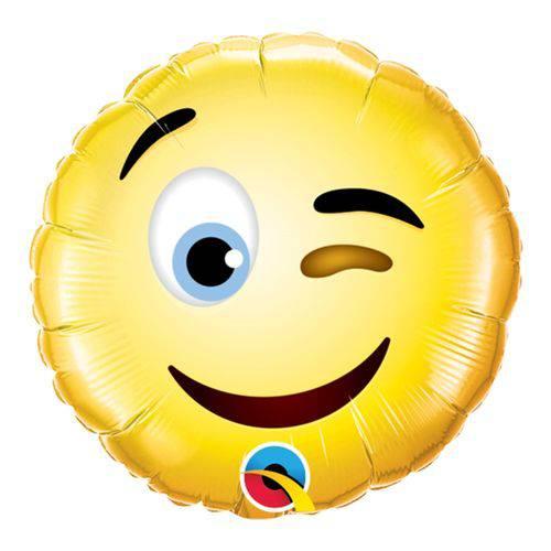 Balão Metalizado Redondo 9 Polegadas - Carinha Sorridente Piscando - Qualatex