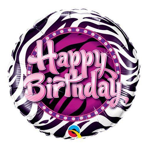 Balão Metalizado Redondo 9 Polegadas - Estampa de Zebra de Aniversário - Qualatex
