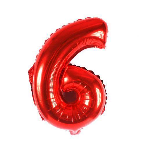 Balão Metalizado Vermelho Número 6