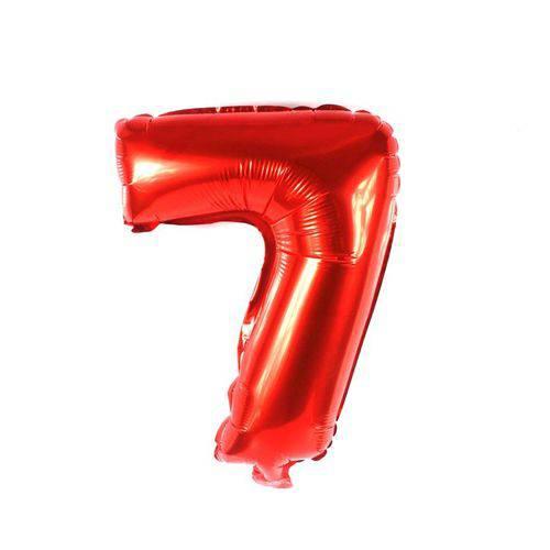 Balão Metalizado Vermelho Número 7