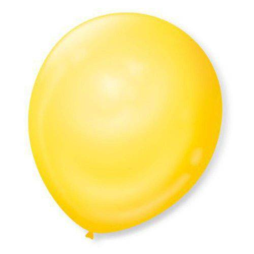 Balão N°7 Liso Amarelo Canario com 50 Unidades
