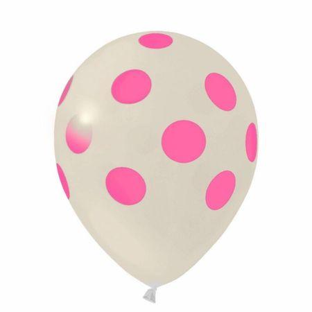 Balão Pic Pic N.10 Branco Poá Rosa - 25 Unidades