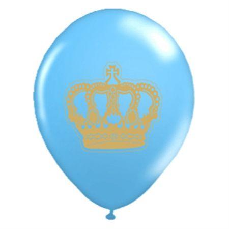 Balão Pic Pic N.10 Coroa Azul C/ Dourado Balão Pic Pic N.10 Coroa Azul Claro C/ Dourado - 25 Unidades