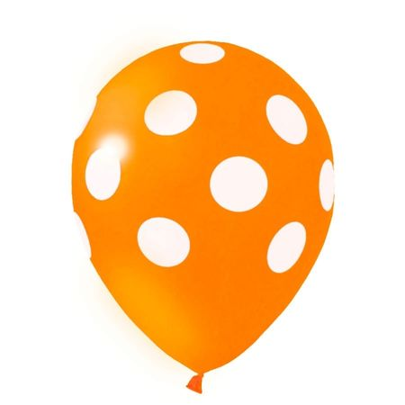 Balão Pic Pic N.10 Laranja Poá Branco - 25 Unidades