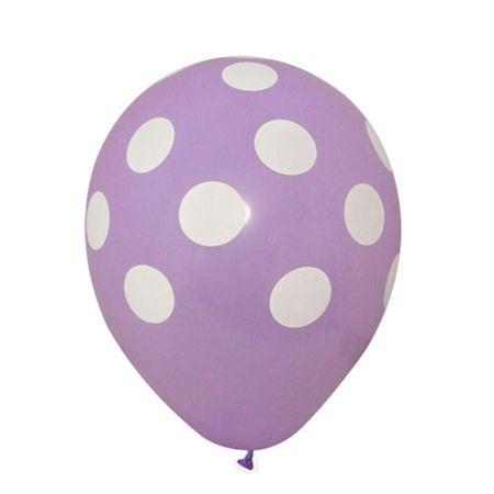 Balão Pic Pic N.10 Lilás Poá Branco - 25 Unidades