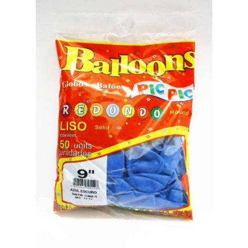 Balão Pic Pic Nº 9 Azul Royal Redondo - 50 Und