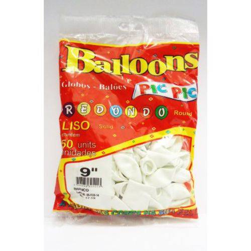 Balão Pic Pic Nº 9 Branco Redondo - 50 Und