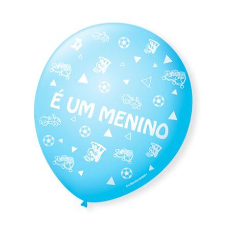 """Balão São Roque N.9 Azul """"É um Menino"""" - 25 Unidades"""