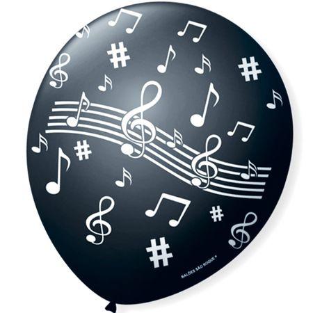 Balão São Roque N.9 Notas Musicais Preto e Branco