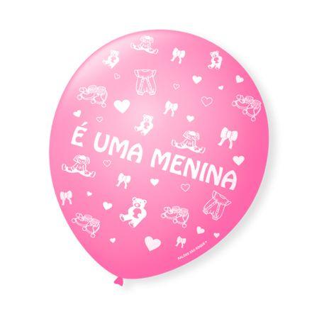 """Balão São Roque N.9 Rosa """"É uma Menina"""" - 25 Unidades"""