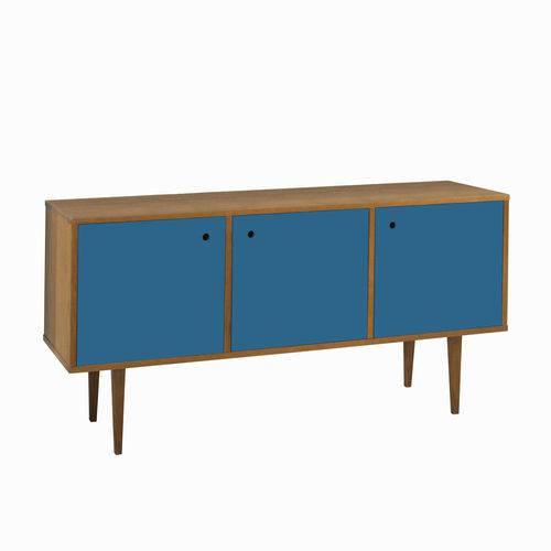 Balcão Buffet 3 Portas Vintage 353 Nogal/Azul Corporativo - Maxima