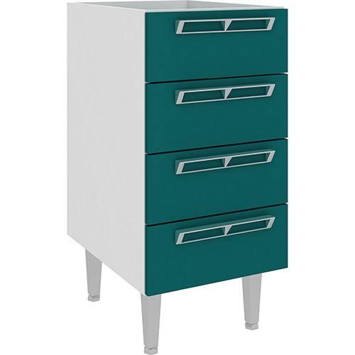 Balcão de Cozinha Art In Móveis Cz601 4 Gavetas - Branco/Verde