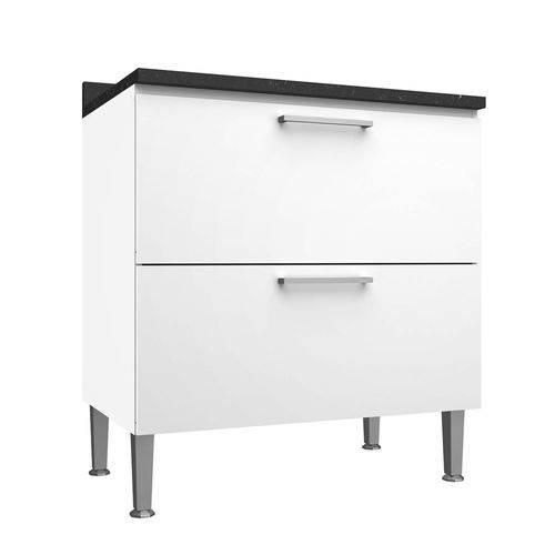 Balcão de Cozinha com Tampo Genialflex 80cm 2 Gavetas Branco