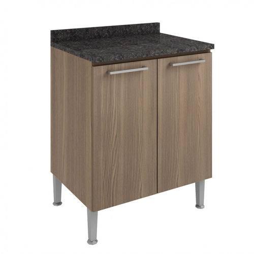 Balcão de Cozinha com Tampo 2 Portas 70cm Genialflex Castanho/Preto