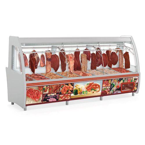 Balcão Refrigerado Gelopar 3,10m Duplex Açougue Vidro Curvo GCPC-310 220V
