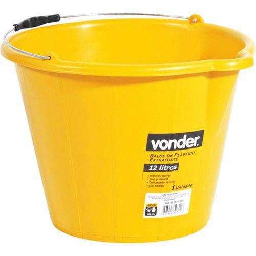 Balde de Plástico Extraforte Amarelo 12 Litros Amarelo - Vonder