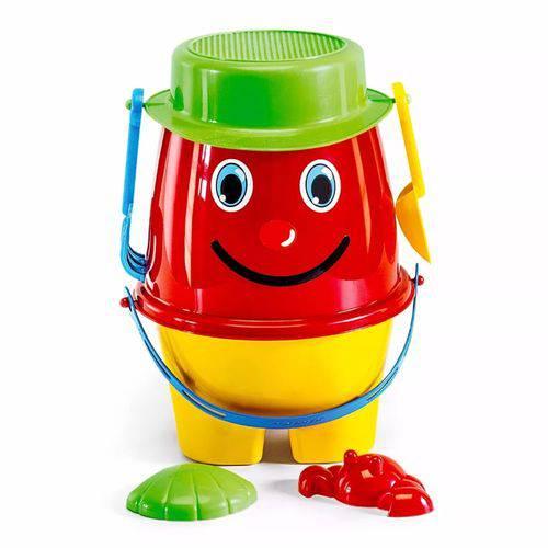 Balde de Praia Boneco Brinquedo Infantil Pá + Rastel + Forma Vermelho