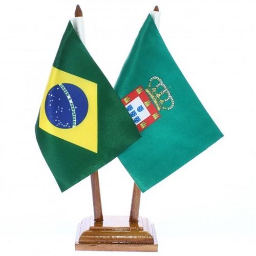 Bandeira de Mesa Brasil e Dom Pedro II de Portugal 6521PM