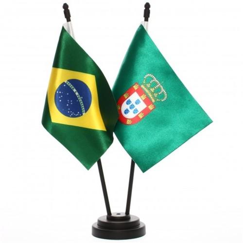 Bandeira de Mesa Brasil e Dom Pedro II de Portugal 6534PP