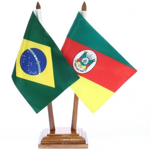 Bandeira de Mesa Brasil e Rio Grande do Sul 6485PM